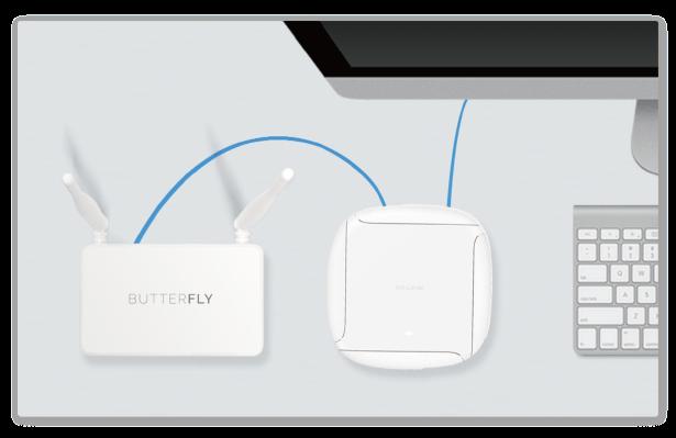 第一步:将Butterfly VPN(家庭版)用网线连接现有路由器   将Butterfly VPN连接电源,并使用网线将Butterfly VPN的WAN口与你家中现有路由器的LAN口相连。