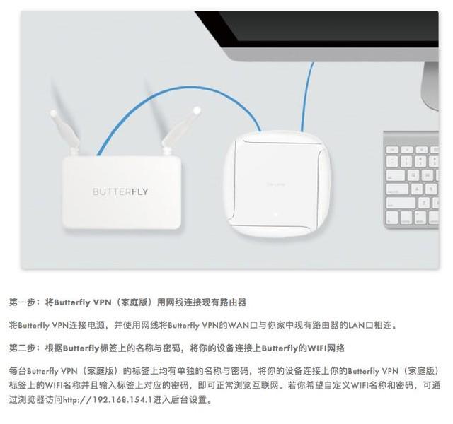 ButterflyVPN 家庭版连接设置 只需两步 简单快速  第一步:将Butterfly VPN(家庭版)用网线连接现有路由器  将Butterfly VPN连接电源,并使用网线将Butterfly VPN的WAN口与你家中现有路由器的LAN口相连。  第二步:根据Butterfly标签上的名称与密码,将你的设备连接上Butterfly的WIFI网络  每台Butterfly VPN(家庭版)的标签上均有单独的名称与密码,将你的设备连接上你的Butterfly VPN(家庭版)标签上的WIFI名称并且输入标签上对应的密码,即可正常浏览互联网。若你希望自定义WIFI名称和密码,可通过浏览器访问http://192.168.154.1进入后台设置。