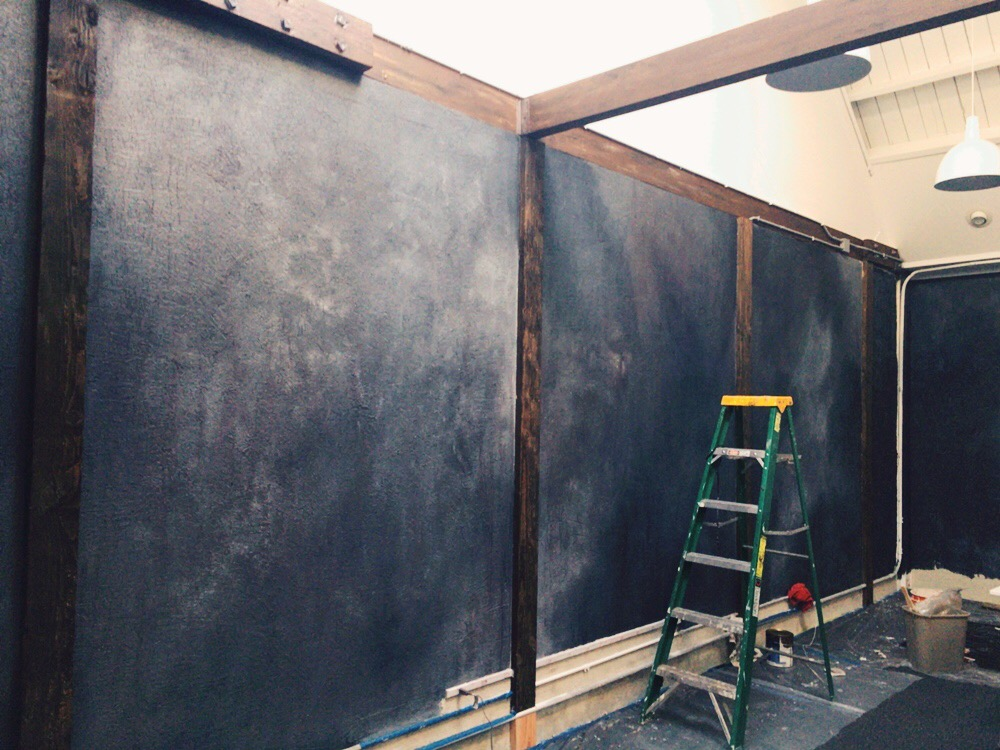 Drywall covered with luan for Venetian plaster wall treatment