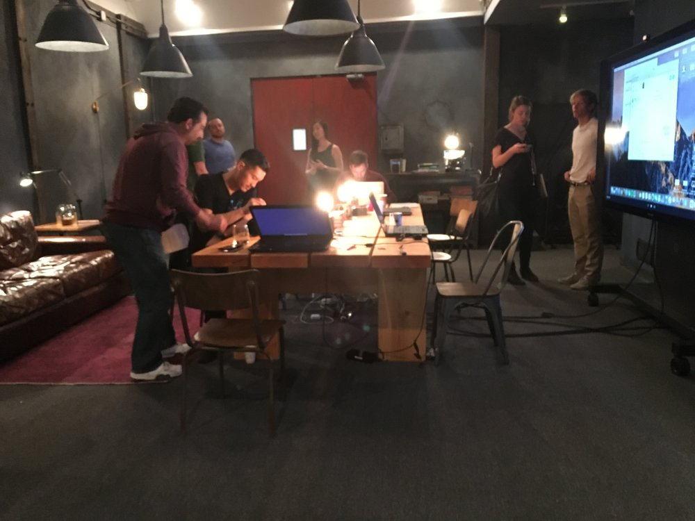 Set up for filming in full environment