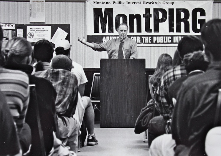 Former Congressman Pat Williams speaks at a MontPIRG Kickoff