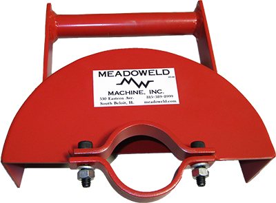 """Grinder Guard - The Meadoweld heavy-duty straight Grinder Guard is designed as a replacement guard for an electric 6- to 8-inch straight grinder. Used for grinding field welds, frogs, switch points, rail profiling, etc. The all-welded design of 1/8"""" steel, with a rigid handle and positive clamping ring, allows for safe operation and long life of the guard itself."""