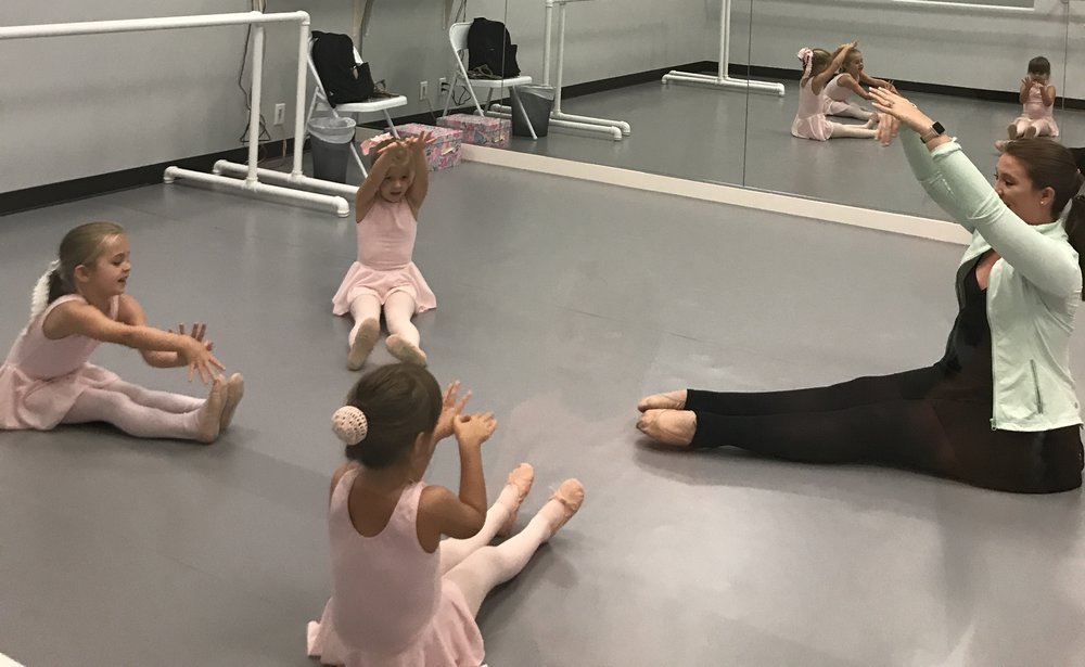 First day:  Baby Ballerinas having fun with Miss Olivia!