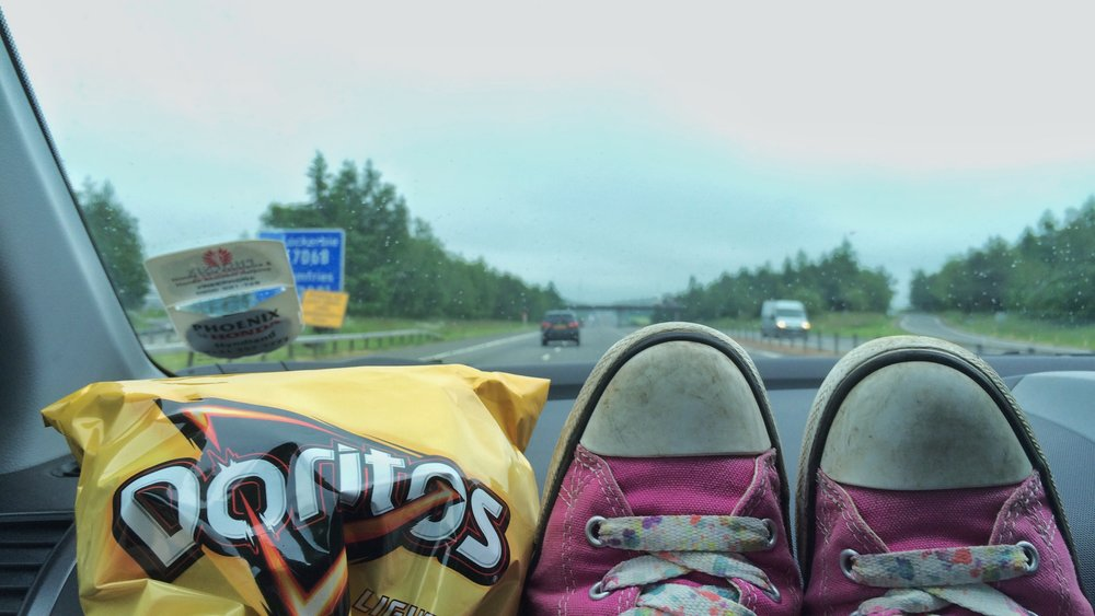 my pink converse (with funky laces) and favourite lightly salted Doritos in the car