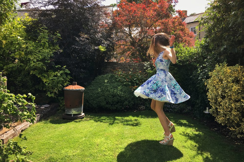 family party outfit - having a bit of fun spinning around in the garden