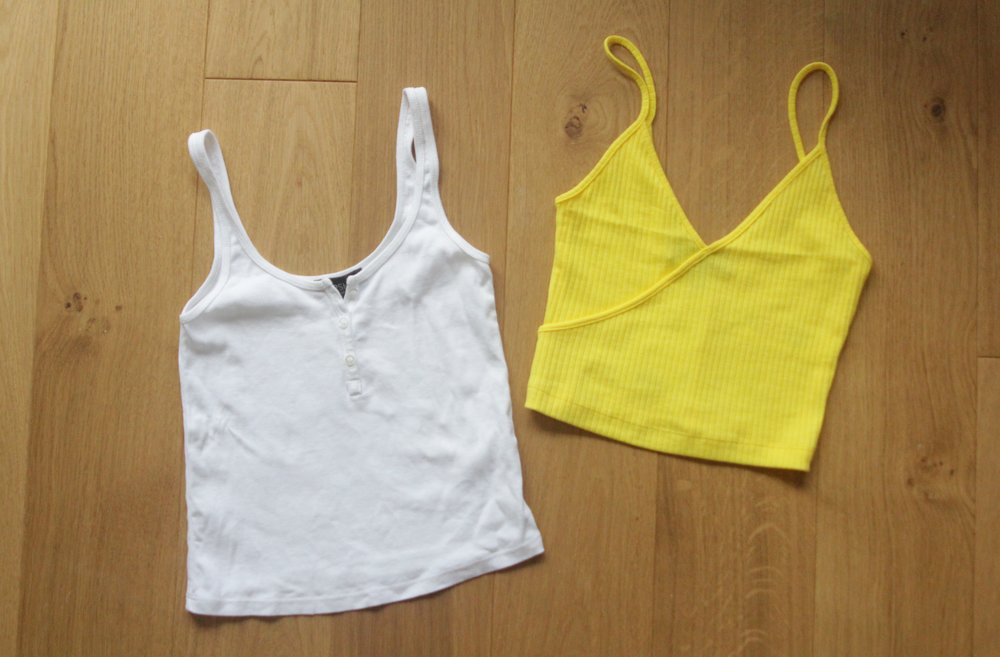White Button Front Vest & Yellow Strappy Crop Top from Topshop