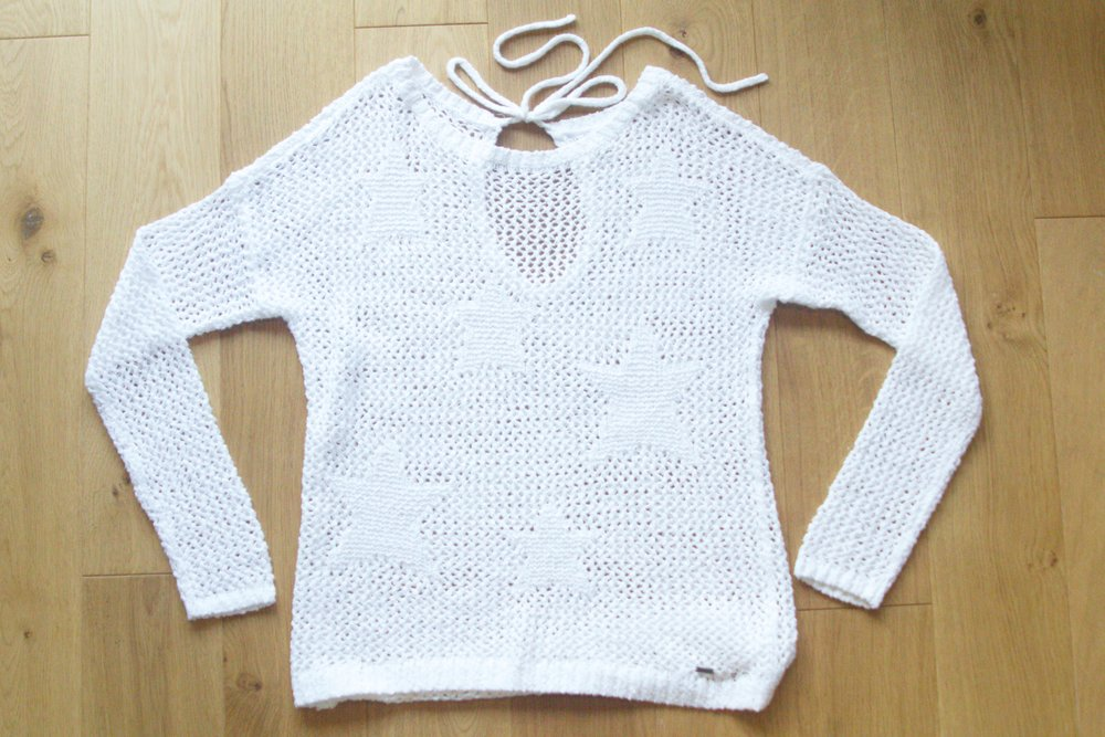White Tie-Back Open-Stitch Sweater from Hollister