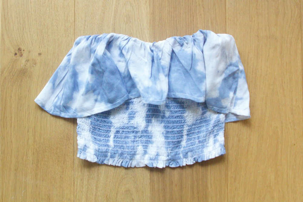 Blue Tie Dye Smocked Ruffle Crop Tube Top from Hollister