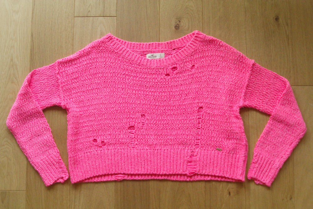 Pink Distressed Crop Sweater from Hollister