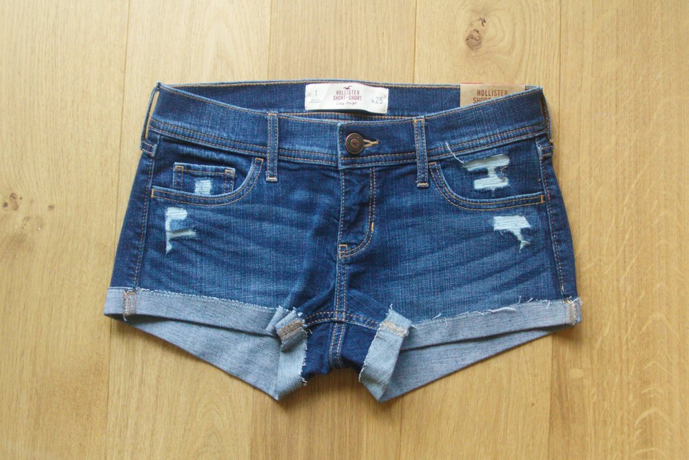 Ripped Dark Wash Low Rise Denim Short-Shorts from Hollister