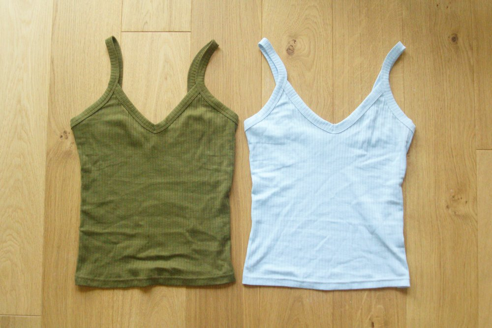 V-Neck Vests in Khaki and Light Blue from River Islan