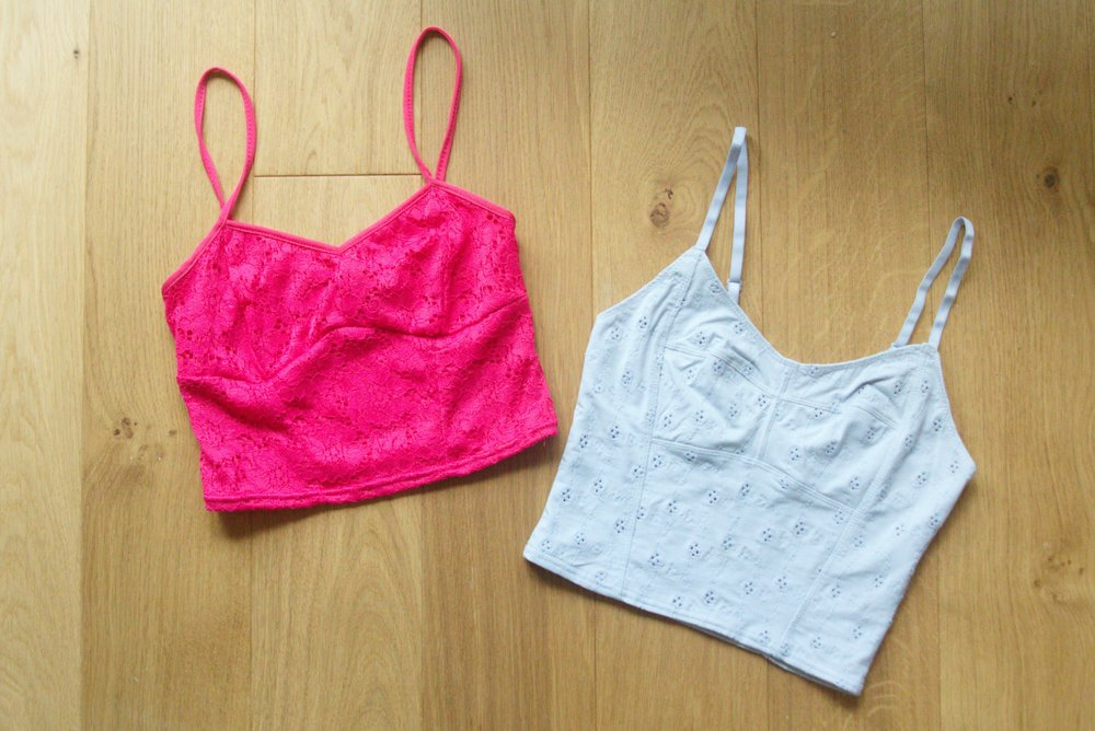 Bright Pink Lace Bralet, Blue Broderie Bralet Cami from New Look
