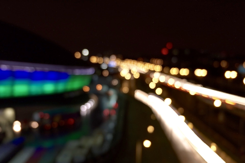 blurry light trails outside the SSE Hydro