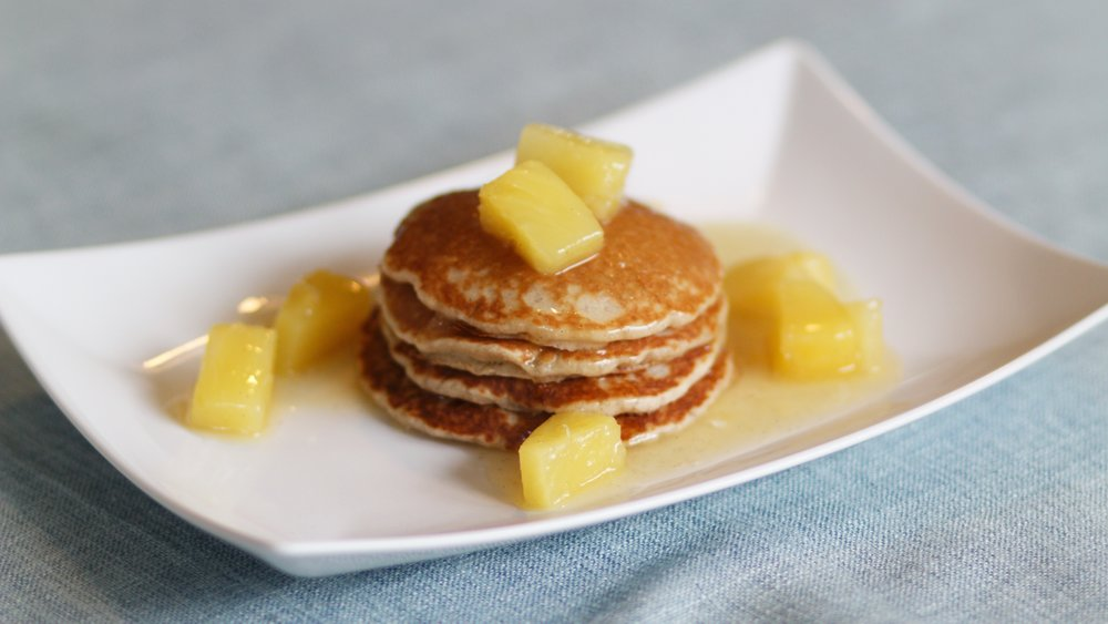 vegan pineapple and coconut pancakes