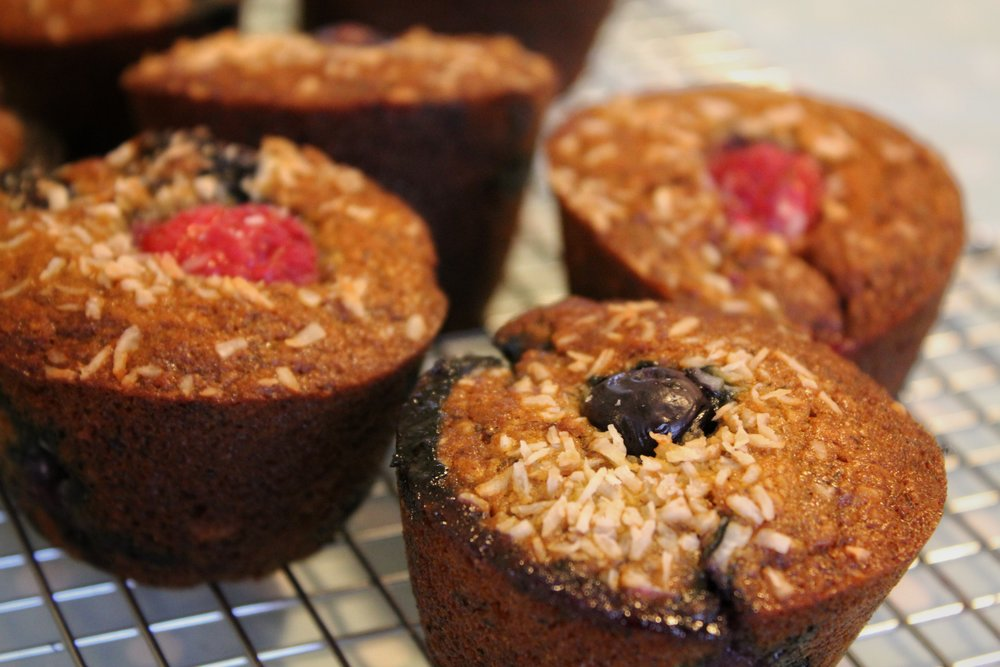 vegan berry and coconut muffins