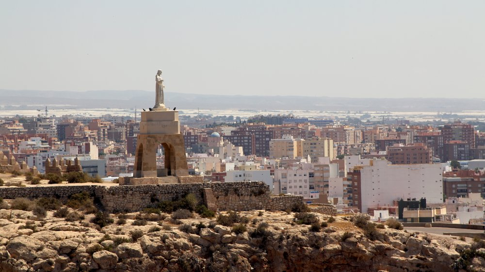 the view of the sacred heart of Jesus overlooking Almería from the Alcazaba