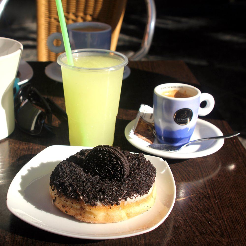 an Oreo doughnut, a lemon granizado and an espresso at Lollypop