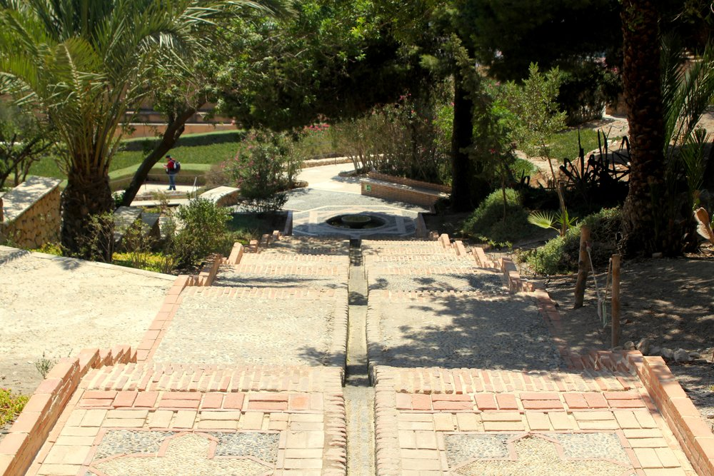 looking down into the landscaped areas of the Alcazaba along one of the traditional paths