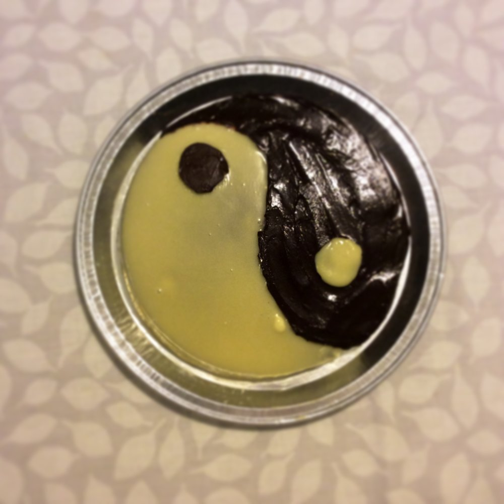 8 January 2014  - chocolate sponge decorated to look like Yin and Yang