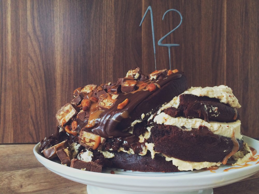 5 August 2015 - collapsed four-tier snickers cake