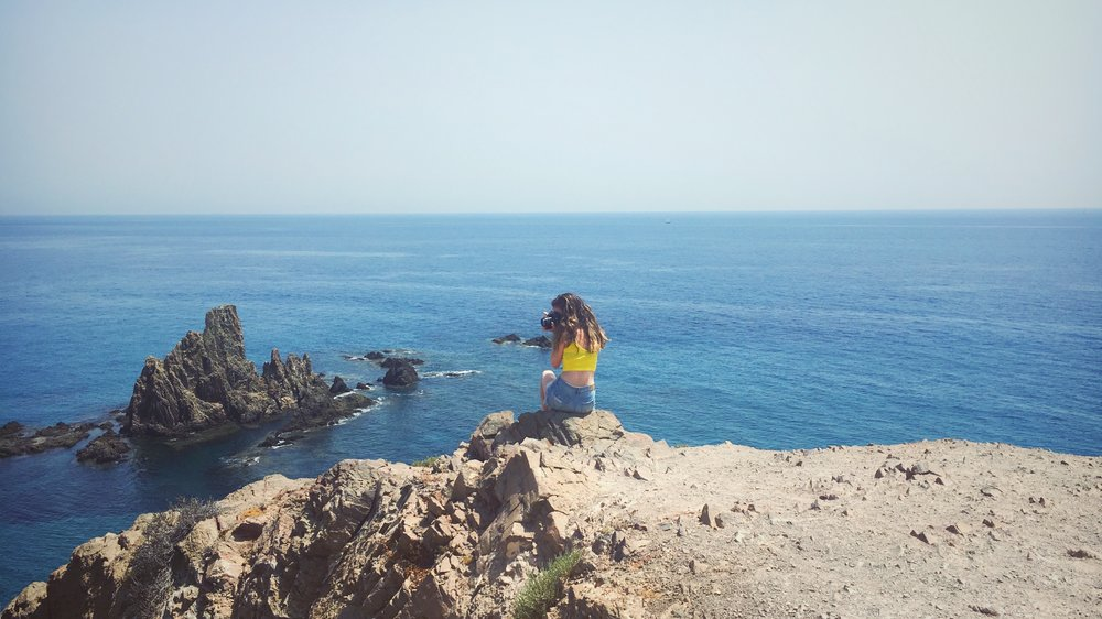 me with the beautiful sea and rocks at Cabo de Gata
