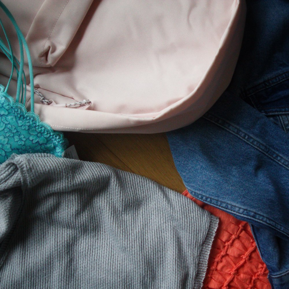 clockwise from top left corner: new Herschel schoolbag, denim jacket, coral crop top, soft grey top, blue bralette