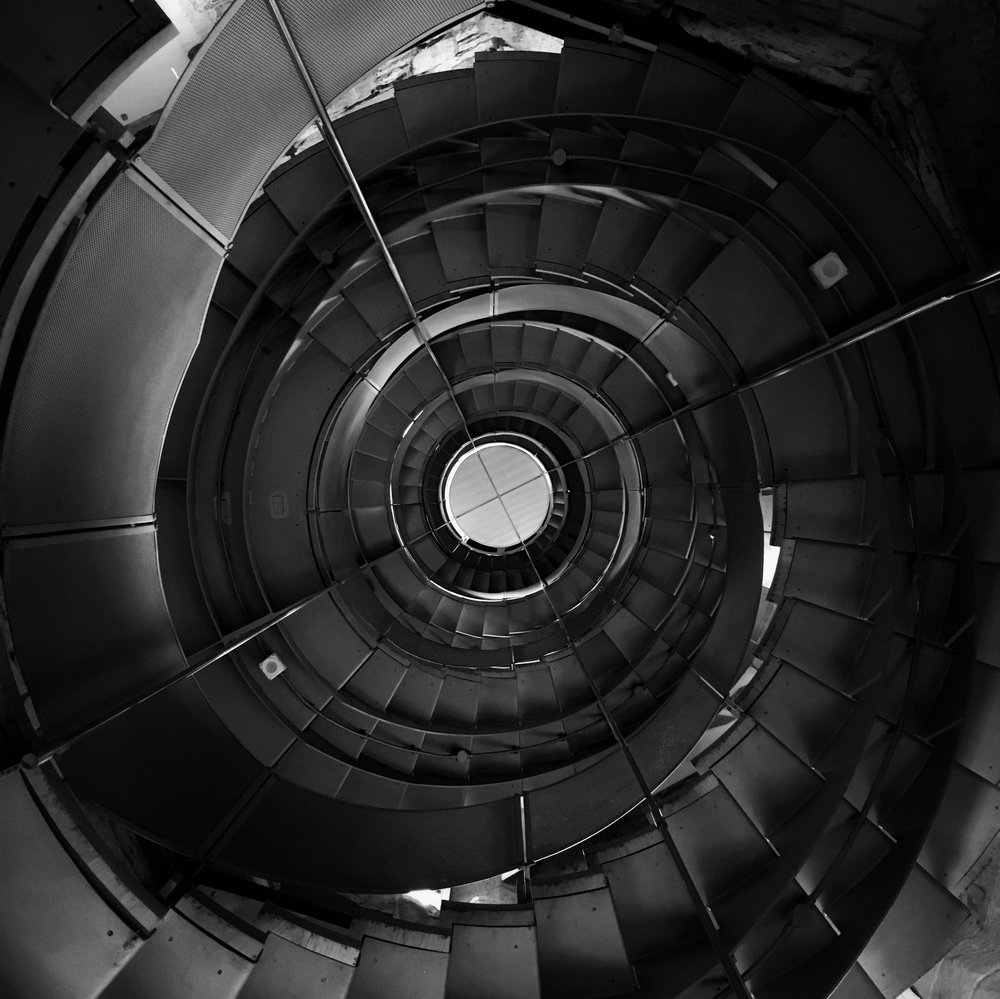 spiralling stairs up to the top of the Lighthouse