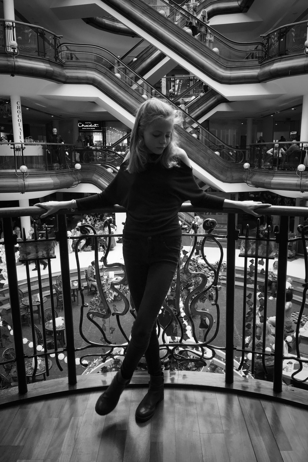 a classy pose from Mia on one of the balconies in Princes Square