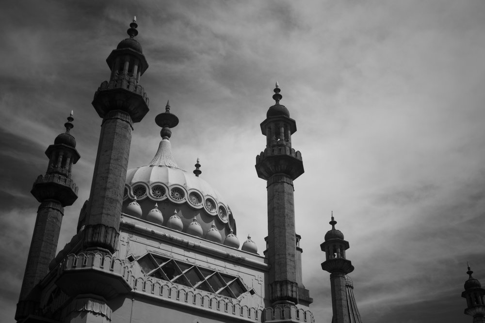 black and white Brighton Pavilion