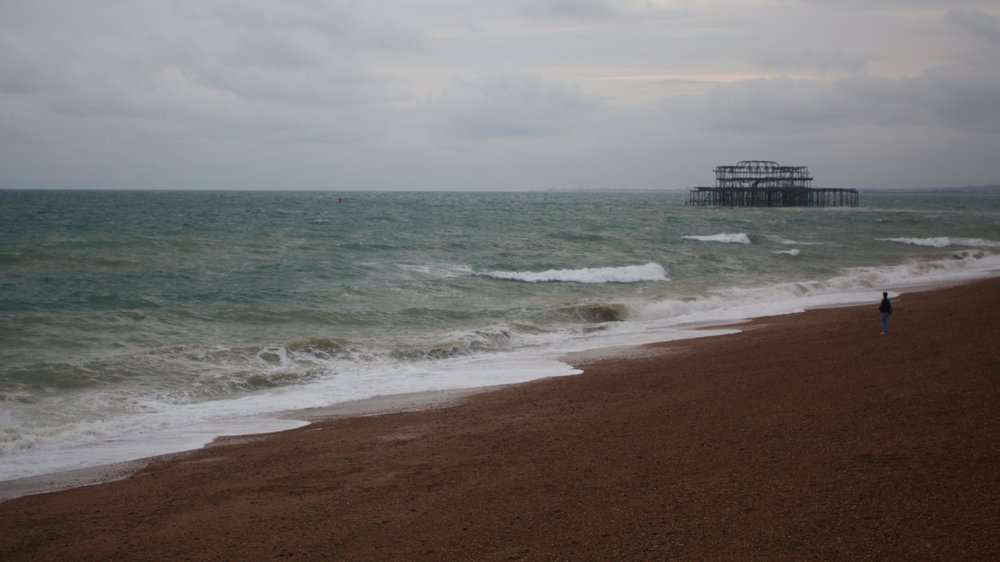 remains of the original Brighton Pier which burned in a fire