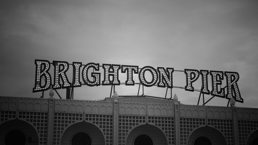 Brighton Pier written in lights