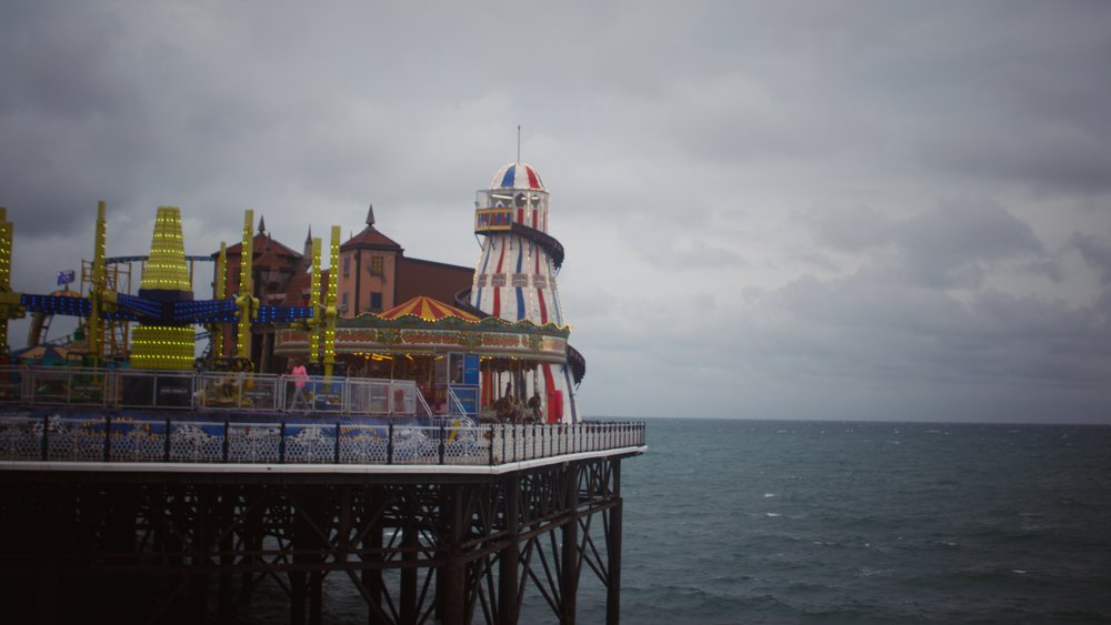 some of the rides at the end of Brighton Pier