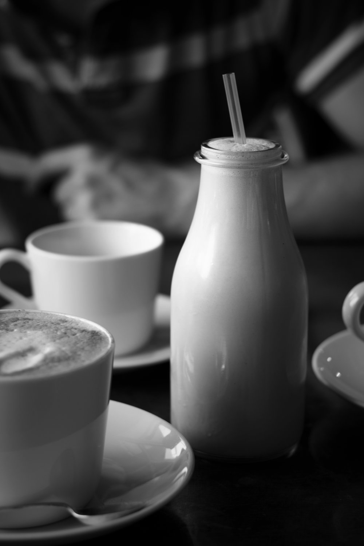 a soya latte and a nutella milkshake at Quaich