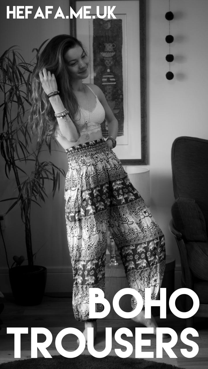 Boho Trousers - Heather Rowland on hefafa.me.uk  Published 6th September 2017