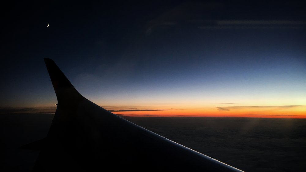 sunset from an aeroplane