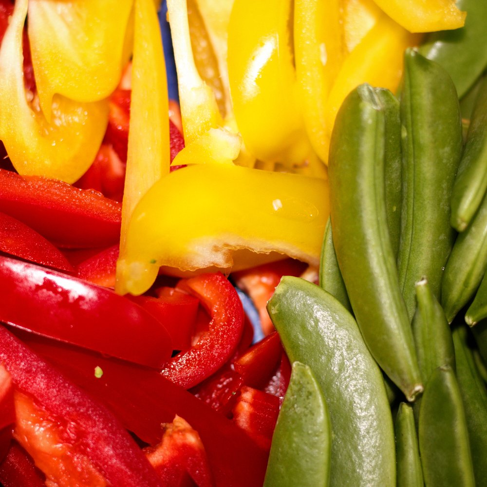 peppers and sugar snaps