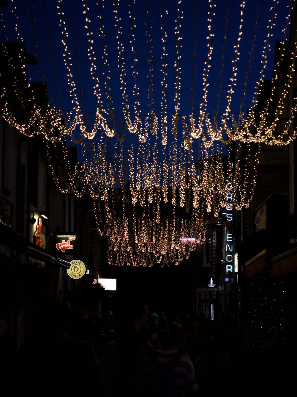 26th August - beautiful lights in Ashton Lane (on the same night we met Jeremy Corbyn in Zizzi!)