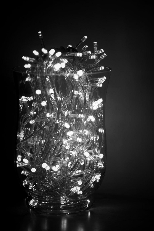 vase of fairy lights