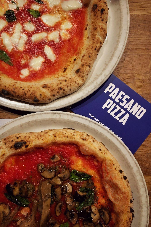 margherita pizza (top left) and wild mushroom vegan pizza (bottom)