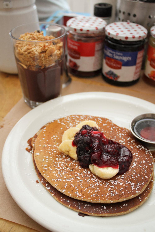 half stack of vegan pancakes and an açai cup from Kitchen Paris