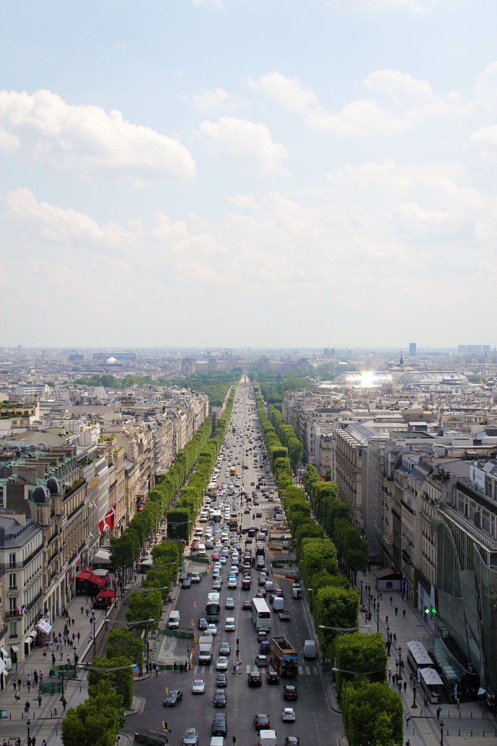 view down the Champs Elysees