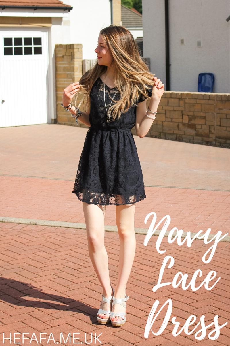 Navy Lace Dress - hefafa.me.uk