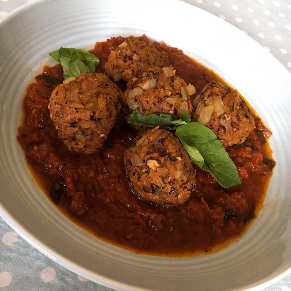 pasta balls with marinara sauce