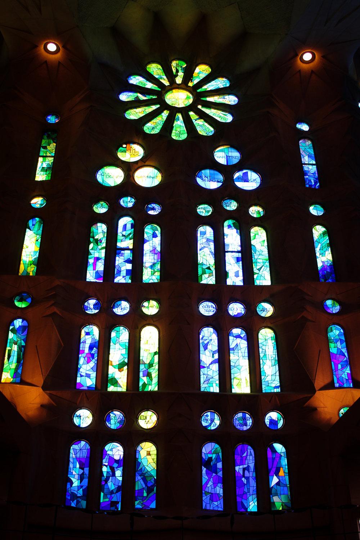 stained glass window in Sagrada Família