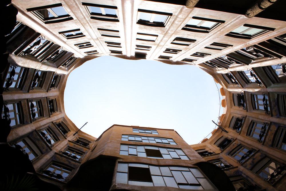 looking up from inside La Pedrera
