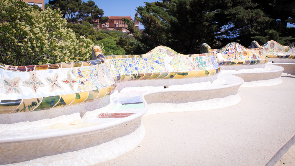 wavy mosaic benches in Park Güell