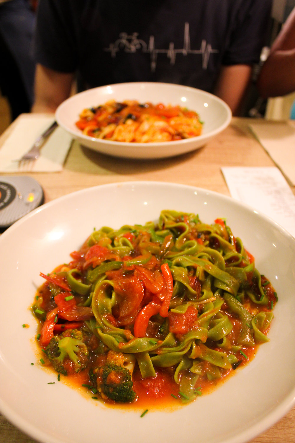 spinach linguine with pomodoro sauce and a variety of veggies from Pasta Market