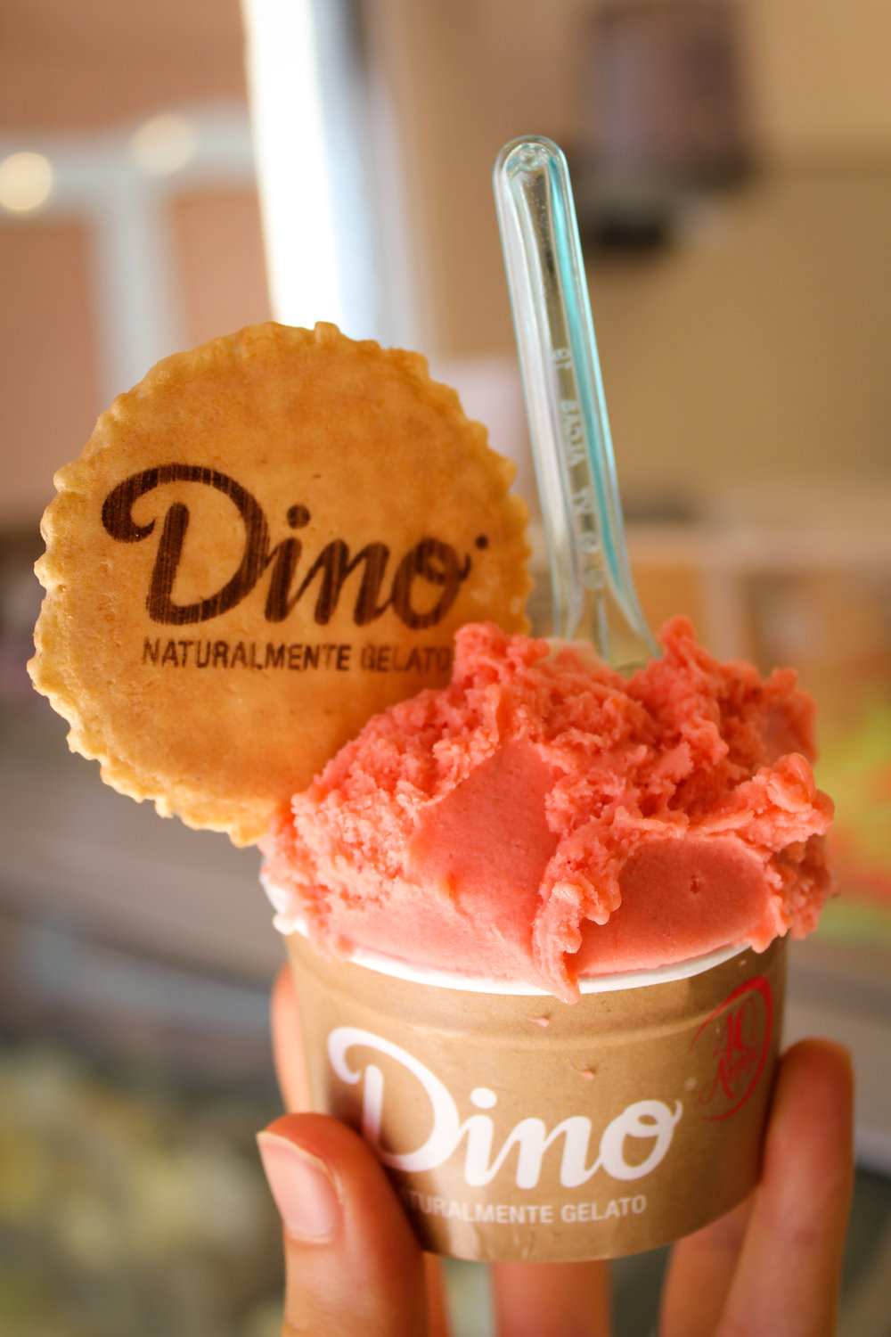 strawberry (and concealed banana) sorbets from Dino