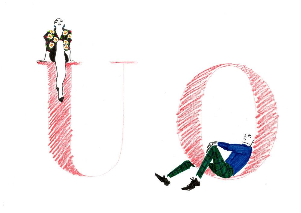 Boncetos de Victoria & Frank en letras, por Ignacio Lobera