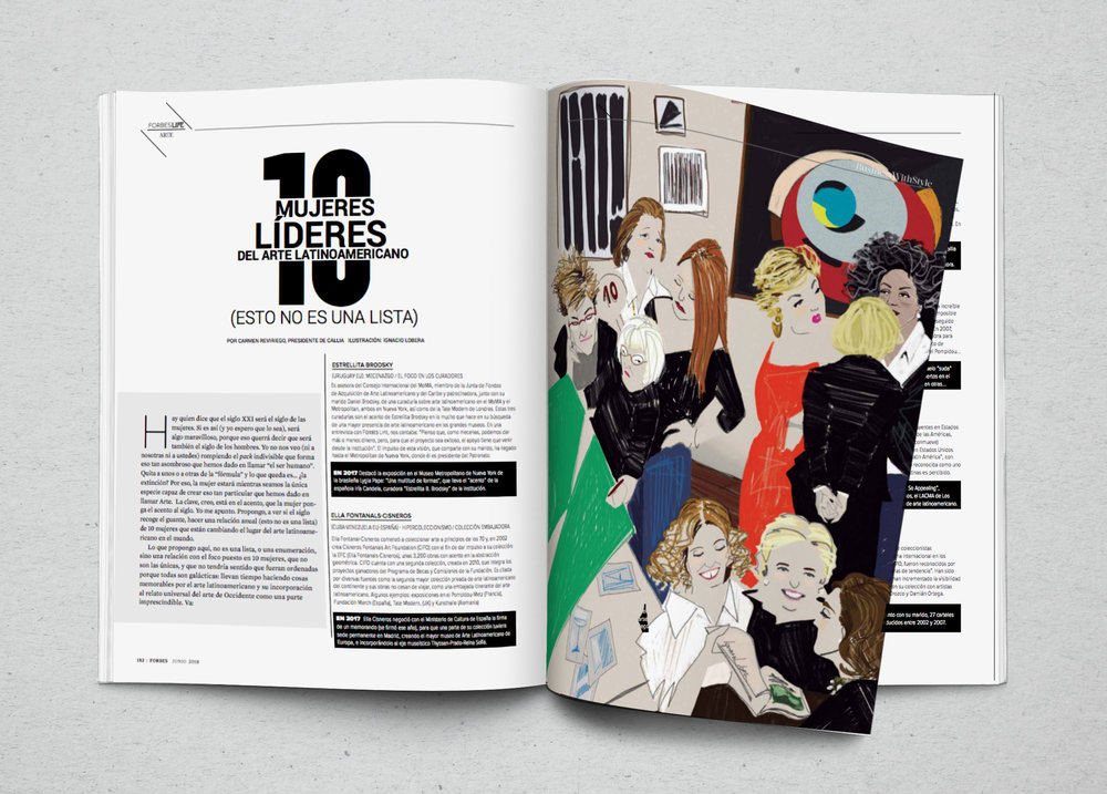 Top 10 filántropas latinoamericanas. Ilustración para Forbes Life México. Junio 2018